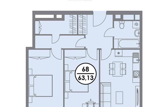 3-комнатная квартира, 63.13 м2, 4 этаж