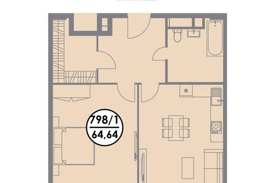 1-комнатная квартира, 64.64 м2, 13 этаж