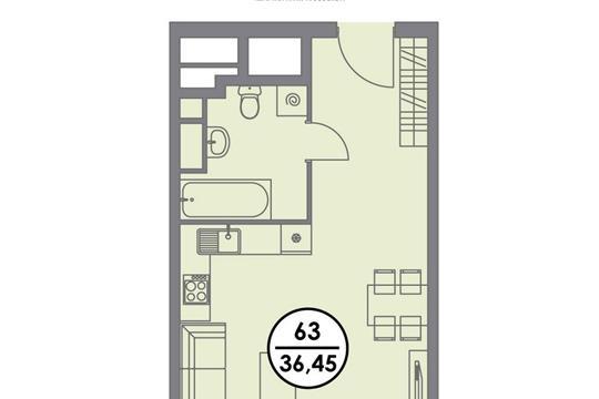 Студия, 36.45 м2, 4 этаж