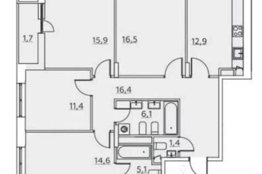 4-комнатная квартира, 104 м<sup>2</sup>, 6 этаж