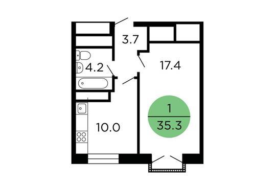 1-комнатная квартира, 35.3 м<sup>2</sup>, 16 этаж