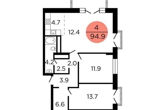 3-комнатная квартира, 95.7 м<sup>2</sup>, 23 этаж