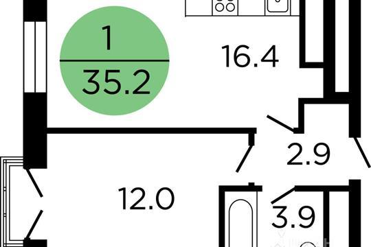 1-комнатная квартира, 35.2 м<sup>2</sup>, 11 этаж