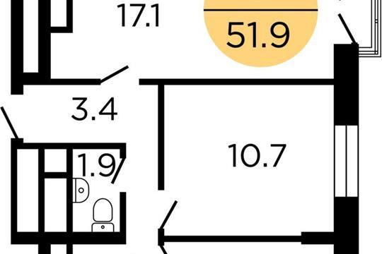 2-комнатная квартира, 51.8 м<sup>2</sup>, 25 этаж