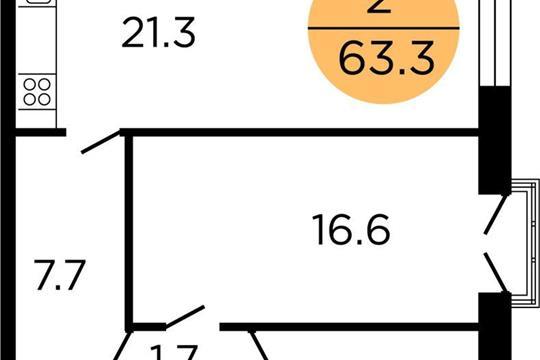 2-комнатная квартира, 62.8 м<sup>2</sup>, 15 этаж