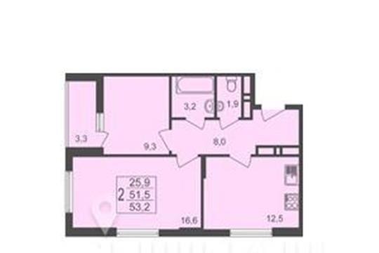 2-комнатная квартира, 53.2 м<sup>2</sup>, 17 этаж