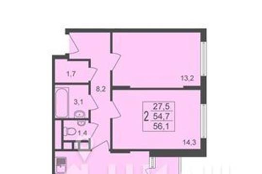 2-комнатная квартира, 56.1 м<sup>2</sup>, 6 этаж