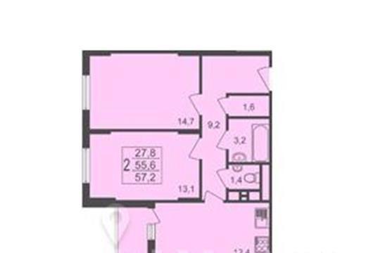2-комнатная квартира, 57.2 м<sup>2</sup>, 2 этаж