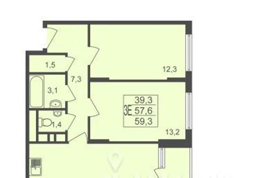 3-комнатная квартира, 59.3 м<sup>2</sup>, 14 этаж