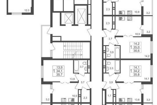 3-комнатная квартира, 66.3 м<sup>2</sup>, 2 этаж