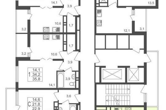3-комнатная квартира, 66.1 м<sup>2</sup>, 14 этаж