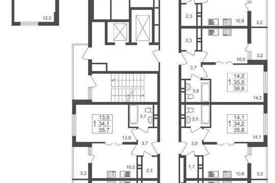 3-комнатная квартира, 66.3 м<sup>2</sup>, 13 этаж
