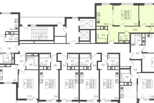 3-комнатная квартира, 69.4 м<sup>2</sup>, 2 этаж