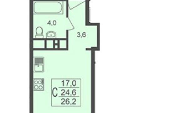 Студия, 26.2 м<sup>2</sup>, 1 этаж