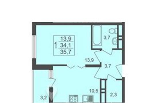 1-комнатная квартира, 35.7 м<sup>2</sup>, 1 этаж