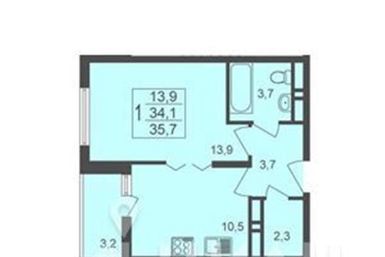 1-комнатная квартира, 35.7 м<sup>2</sup>, 17 этаж