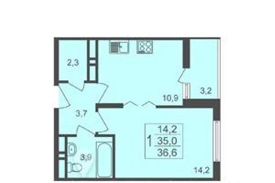 1-комнатная квартира, 36.6 м<sup>2</sup>, 17 этаж