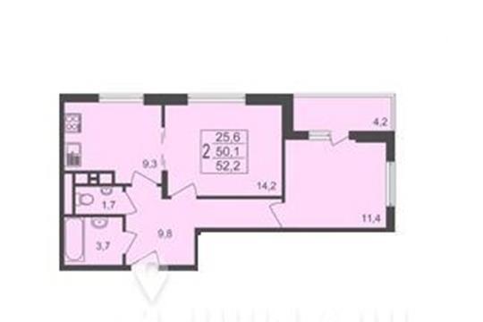 2-комнатная квартира, 52.2 м<sup>2</sup>, 11 этаж