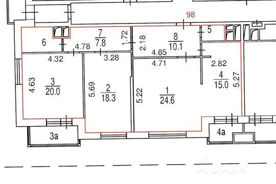 3-комнатная квартира, 102.1 м<sup>2</sup>, 15 этаж