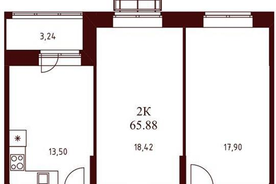 2-комнатная квартира, 65.88 м<sup>2</sup>, 6 этаж