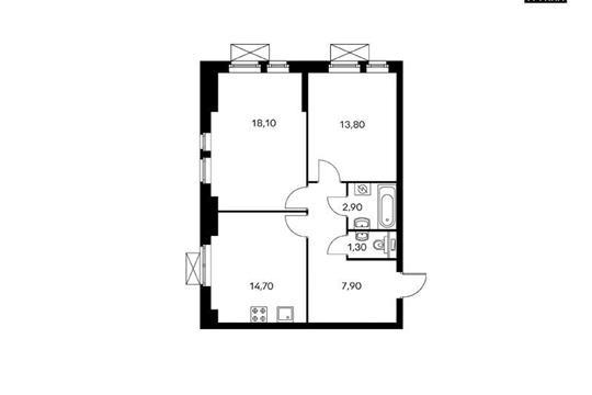 2-комнатная квартира, 63 м<sup>2</sup>, 4 этаж