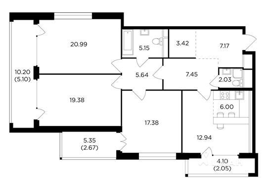 4-комнатная квартира, 117.37 м<sup>2</sup>, 20 этаж