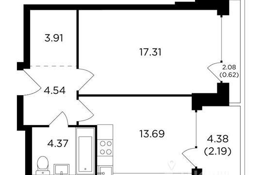 1-комнатная квартира, 46.63 м<sup>2</sup>, 12 этаж
