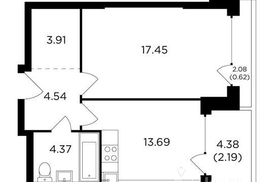 1-комнатная квартира, 46.75 м<sup>2</sup>, 20 этаж