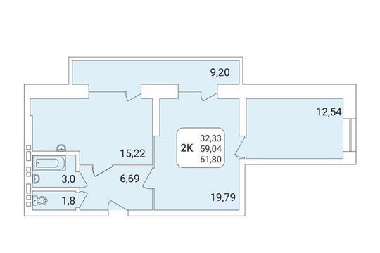 2-комнатная квартира, 61.8 м<sup>2</sup>, 12 этаж