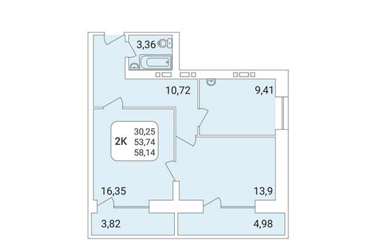 2-комнатная квартира, 58.14 м<sup>2</sup>, 11 этаж