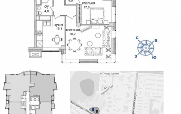 3-комнатная квартира, 118.9 м2, 31 этаж
