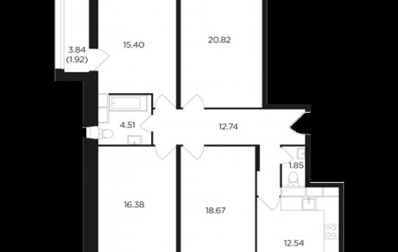 4-комнатная квартира, 104.83 м2, 4 этаж