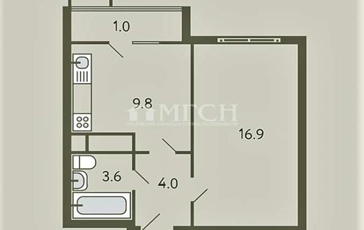 1-комнатная квартира, 32 м2, 1 этаж