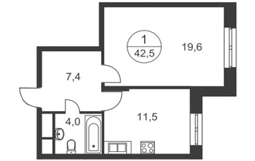 1-комнатная квартира, 42.5 м2, 17 этаж