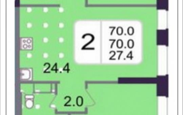 2-комнатная квартира, 70 м2, 19 этаж
