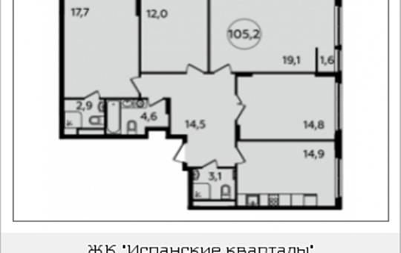 4-комнатная квартира, 105.2 м2, 9 этаж