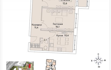 2-комнатная квартира, 58.1 м2, 35 этаж