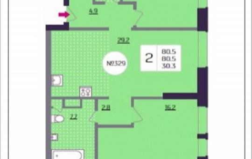 2-комнатная квартира, 80.5 м2, 13 этаж