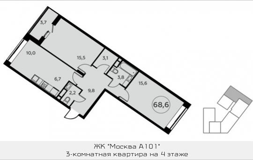 Студия, 68.6 м2, 4 этаж