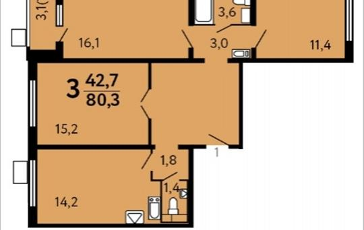 3-комнатная квартира, 80.3 м2, 15 этаж