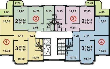 2-комн квартира, 54 м2, 15 этаж