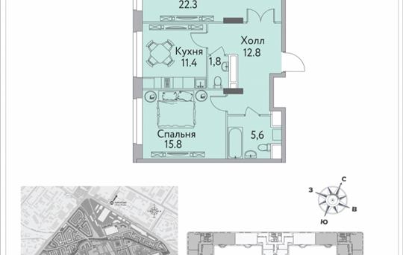 2-комнатная квартира, 72.2 м2, 2 этаж
