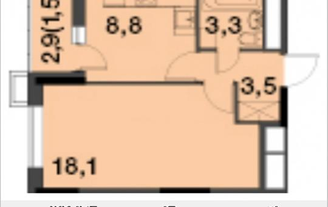 1-комнатная квартира, 35.2 м2, 13 этаж