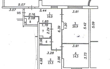 3-комнатная квартира, 92 м2, 9 этаж