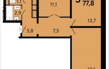 3-комнатная квартира, 77.8 м2, 10 этаж