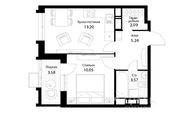 1-комн квартира, 37.73 м<sup>2</sup>, 15 этаж_1