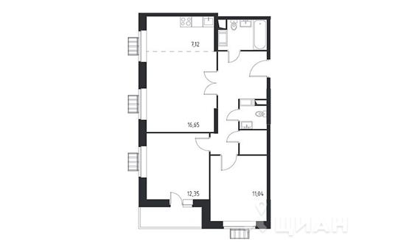 3-комнатная квартира, 67.23 м2, 7 этаж