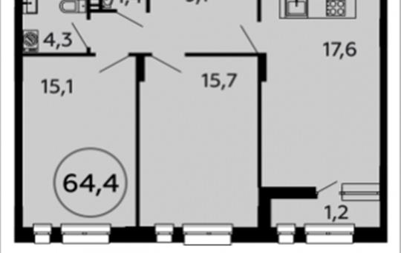 2-комнатная квартира, 64.4 м2, 10 этаж