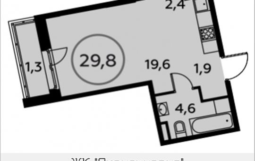 Студия, 29.8 м2, 13 этаж