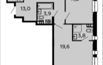 3-комнатная квартира, 91.2 м2, 6 этаж